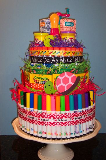 Back to School Supplies Cake! Making your kids a supplies cake might get them more excited for school!