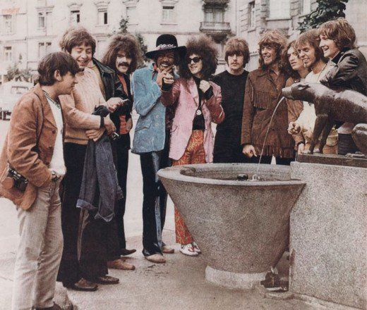 Eric Burdon, Stu Leathwood, Keith Ellis, Roy Wood, Jimi Hendrix, Noel Redding, Carl Wayne, John Mayall, Steve Winwood, Trevor Burton, Roy Morris Left to Right at Hotel Stoller in Zurich 1968