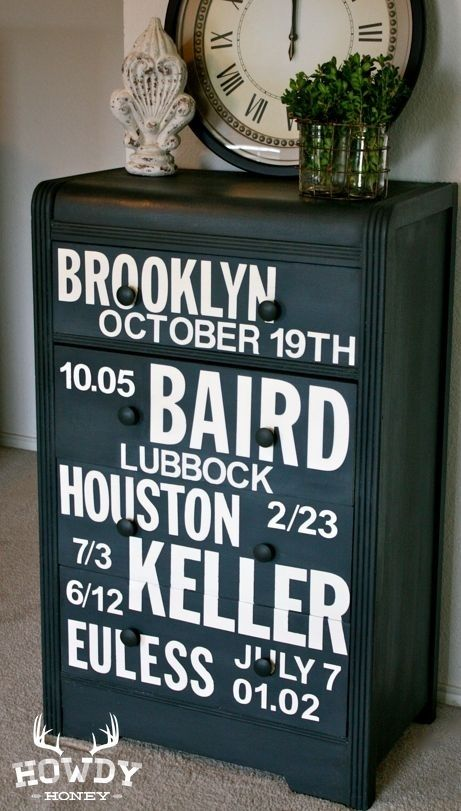 Use stenciled letters to mark a special occasion | 99 Clever Ways To Transform A Boring Dresser