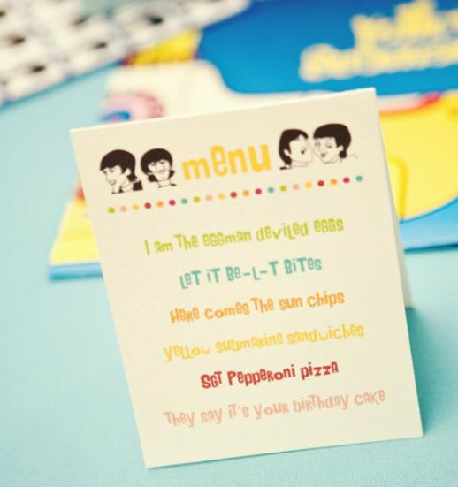 Awesome menu idea for a Beatles themed party!