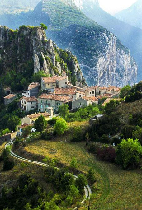 Rougon, France is a small and very isolated mountain village sitting on a plateau high above the upper Verdon Gorge. Rougon is known for its beautiful setting in the mountains, the large colony of vultures nesting on the cliffs nearby, wonderful views and hiking.