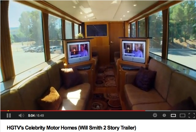 Will Smith S Motorhome Here S The Cinema In The Rising Roof Celebrity Motorhome Motorhome Interior Will Smith Motorhome