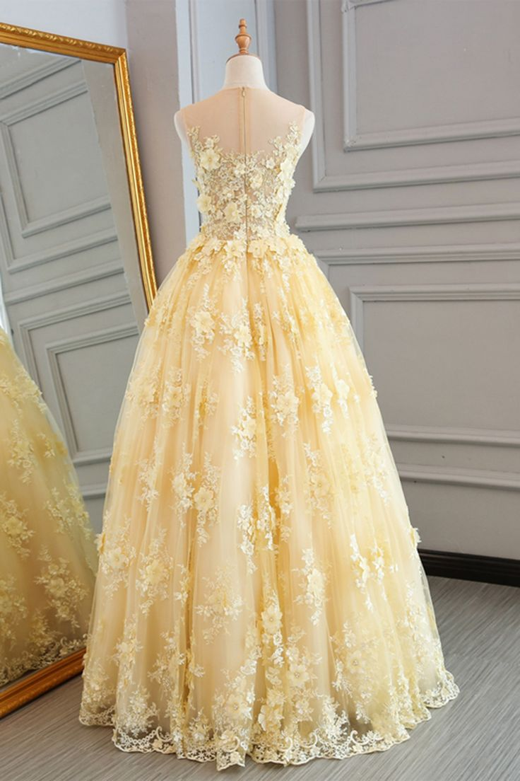 Spring yellow lace customize long A-line senior prom dress, long lace halter evening dress - Thumbnail 1