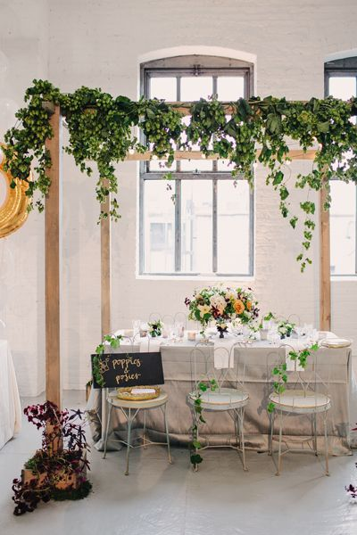 leafy arbor indoors + garden table by Poppies and Posies for The Cream Event NYC