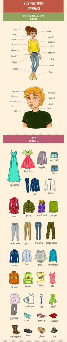 Parts of body and clothes nouns #English