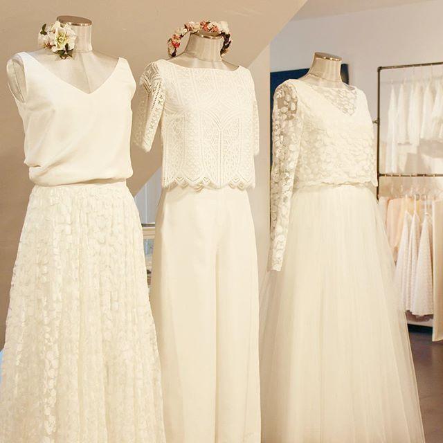 Brautkleider mit Tüll und Spitze, zweiteilige Brautkleider mit Spitzentop und Tüllrock von noni.