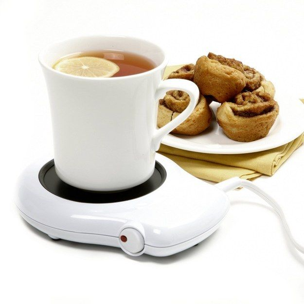 A heater to keep your coffee warm.   35 Insanely Awesome And Inexpensive Things You Need For Your Desk