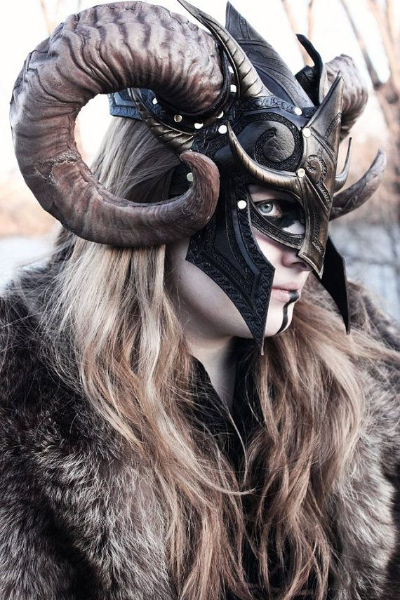 Fantasy Viking Leather Helm armor armure costume by FeralCrafter