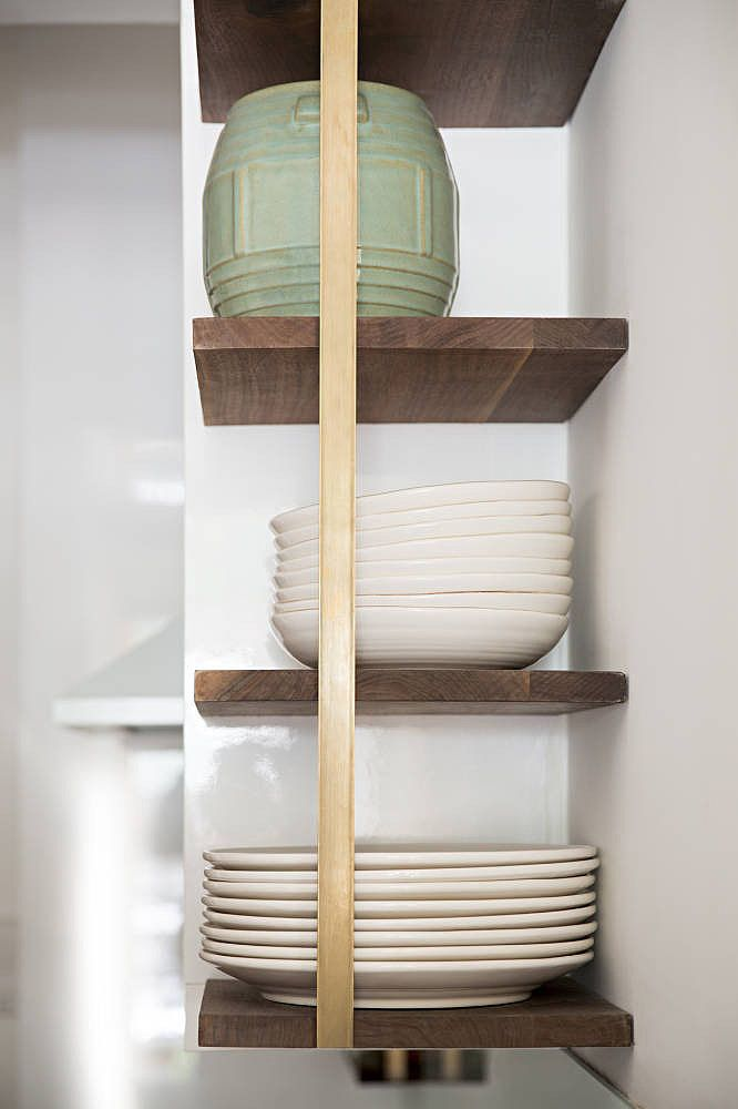 Open shelving is all the rage when it comes to Scandi-inspired kitchen renovations.