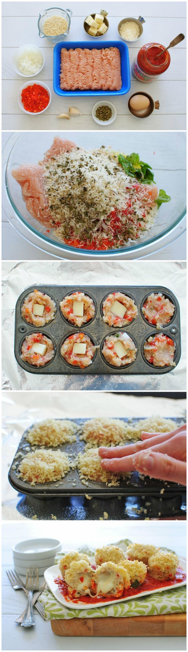 {Mini} Chicken Parm Meatloaf Cupcakes (minus the breadcrumbs)