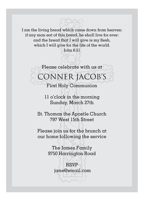Baptism invitations with bible verses are always a pious and humble way to let relatives know that a religious celebration is on the way. The Grey Cross Background Invitation is available on Polka Dot Design's website. The front of the invite features a simple, plain gray scale cross against the invite's pale grey background. More cross designs are printed on the back of the invite. The attention to detail is what makes this card stand out from other religious themed invites.