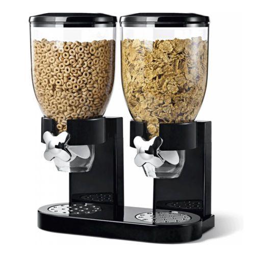 Clair-noir-amp-blanc-unique-amp-double-nourriture-seche-cereales-distributeur-conteneur-de-stockage