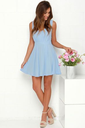 Pretty Light Blue Dress - Skater Dress - Backless Dress - $75.00