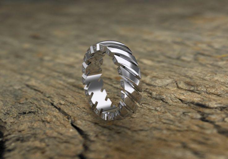Muzcina Collection of gents' rings from JJBuckar. Design B25.