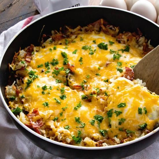 Cheesy Bacon Egg Hash Brown Skillet on MyRecipeMagic.com