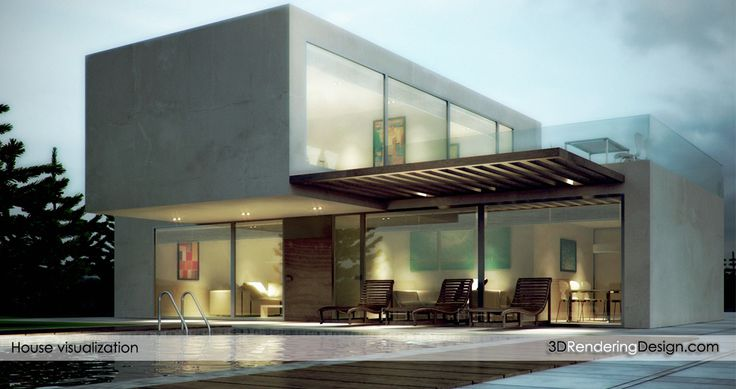 Modern house 3d rendering.  In this exterior image I got inspired in contemporary architecture. There are two large blocks connected. It is a very modern looking house with very large open spaces.