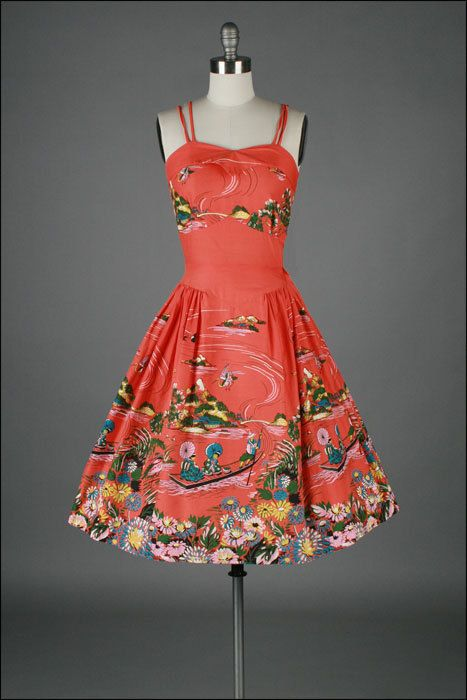 vintage 1950s dress . cotton . asian novelty by millstreetvintage