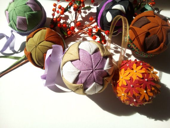 fabric christmas balls ornaments home decor by mademeathens