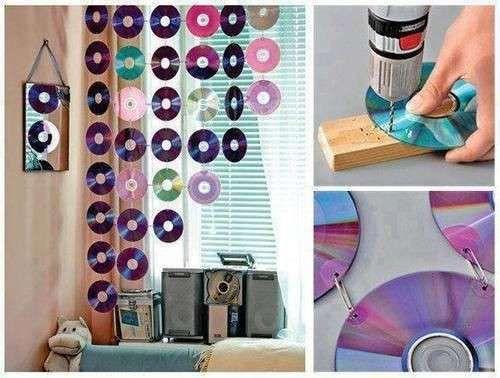 Reciclaje creativo: Fotos de diseños con CD's - Cómo hacer una cortina de CD's
