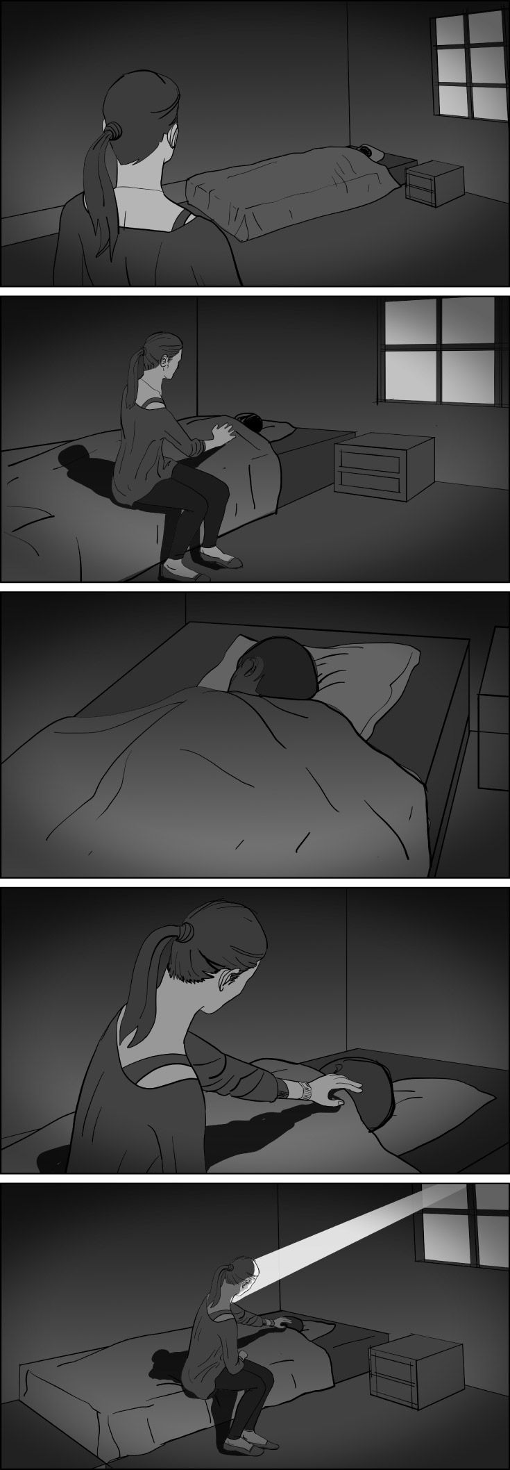 Storyboard sequence. Storyboards by storyboard artist Cuong Huynh. Got A Script? I'll Storyboard It.