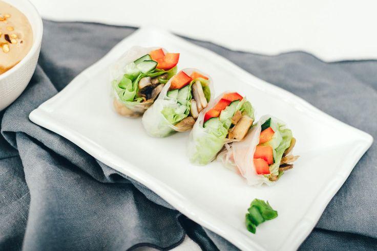 Спринг-роллы с грибами и ореховым соусом — Greenoteka