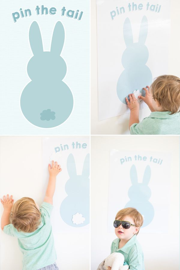 Pin the tail on the bunny | sugarandcharm.com | #easter #game #diy