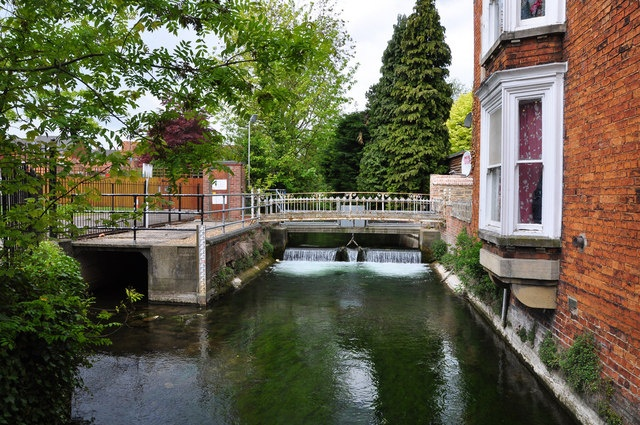 Weir below bridge in Sleaford town centre, Lincolnshire