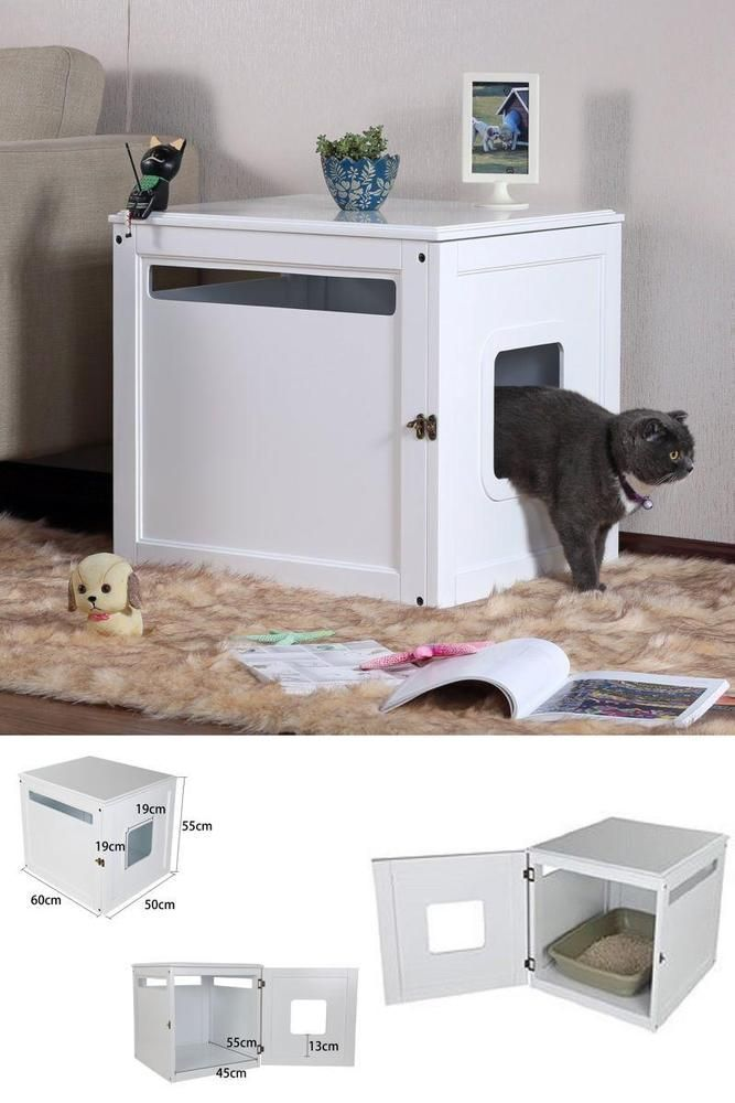 Bed Side Table Pet House Cat Litter Box Cove White Bedroom