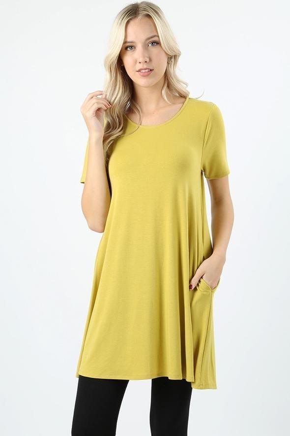 489eb62f362 Women's Swing Tunic Dress With Pockets Mustard Yellow: S/M/L/XL and  1xl-2xl-3xl