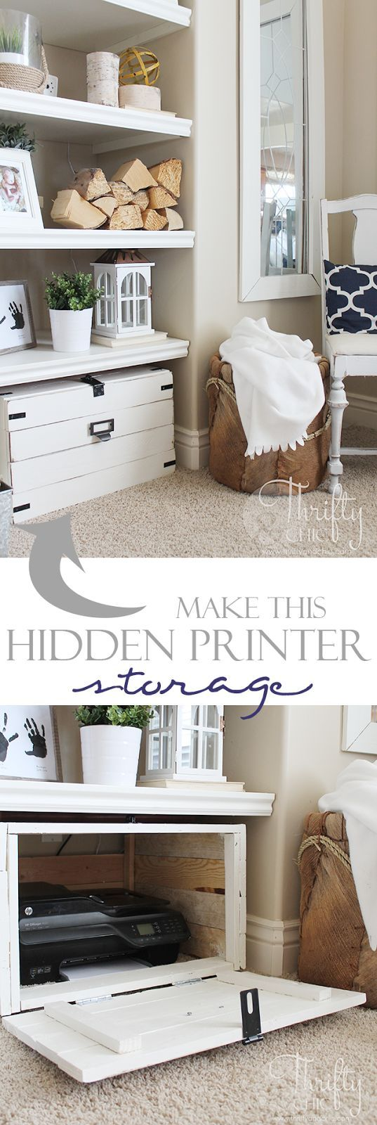 Wonderful DIY Hidden Printer Storage Cabinet