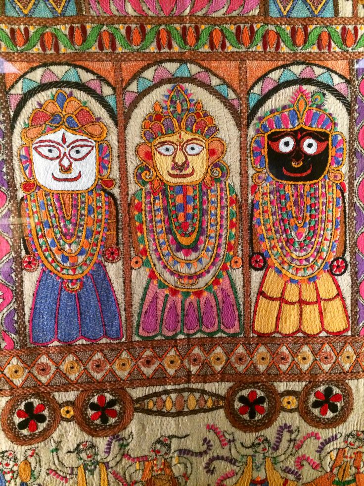 Stunning Kantha work on cloth panel. From the collection @ Chhatrapati Shivaji Maharaj Vastu Sangrahalaya, formerly Prince of Wales Museum of Western India.