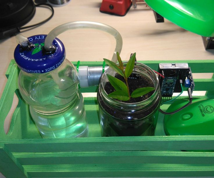 "In this Instructables guide I will show you how to make your own - Arduino -automatic watering system for your ""desk"" flower (or plant). The whole procedure is very easy and you can complete this guide in about 30 min. The goal is to automatically watered the plant when the soil moisture decreases, so we will use one ""soil hygrometer"" sensor for this measurement. For watering, we will use one small air-pump motor that will blowing air into the bottle from one small pipe! T..."