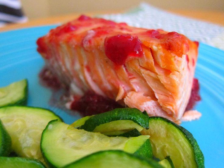 raspberry glazed salmon on peanut butter fingers