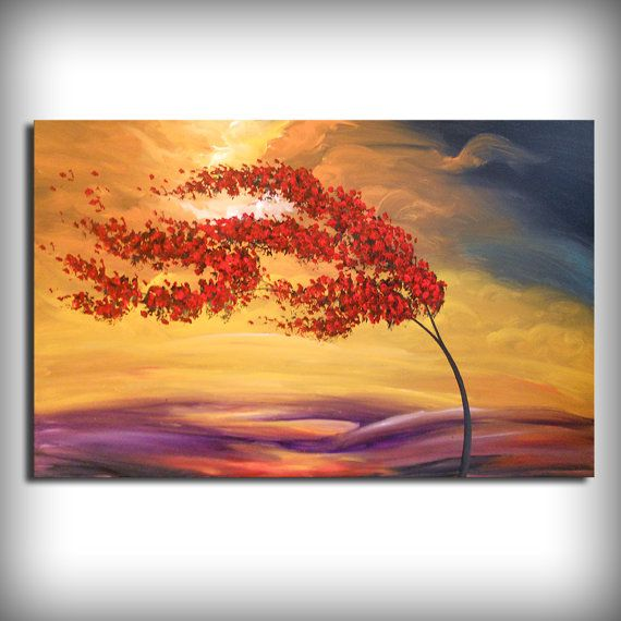blowing wind red tree painting abstract landscape art by mattsart