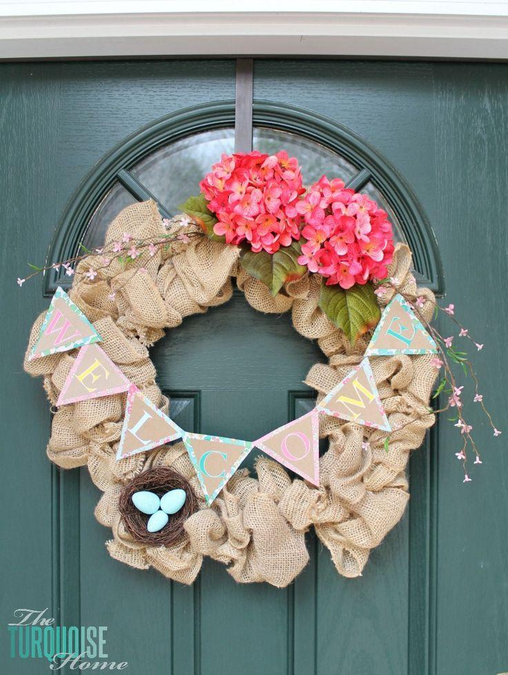 DIY Spring Burlap Wreath | TheTurquoiseHome.com