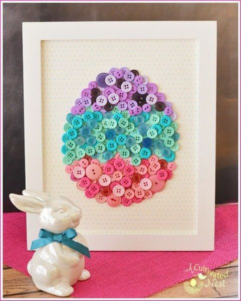 DIY Easter Button Craft with free Template. This pretty framed DIY button egg is easy to make and will look so cute as part of your spring and Easter decor! Not just for a frame, but would also look good if you do this for a card design.