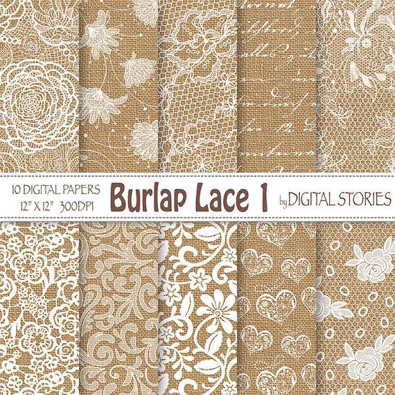 "Burlap Lace Wedding digital paper: ""BURLAP LACE 1"" White Wedding Vintage Lace Burlap Textured for scrapbooking, invites - Buy 2 Get 1 Free"