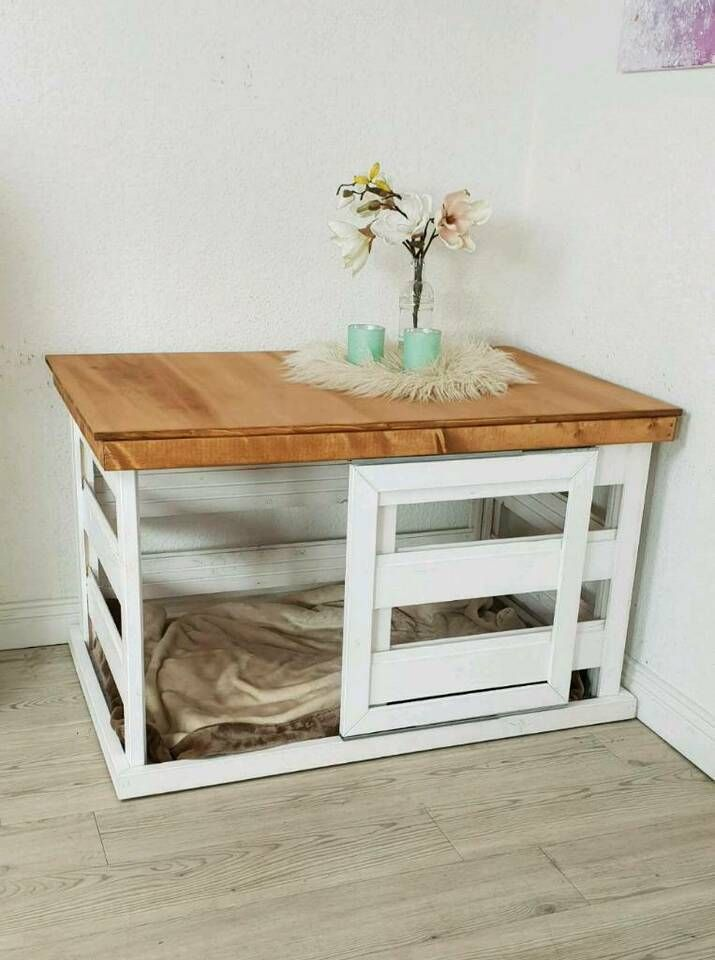 Hundebox Holzbox Kennel Wei 223 Holz Shabby Landhaus In