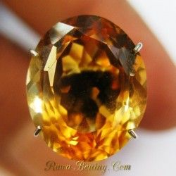 Batu Permata Citrine Orangy Yellow Oval 5.65 carat Kualitas Bagus [HQ]