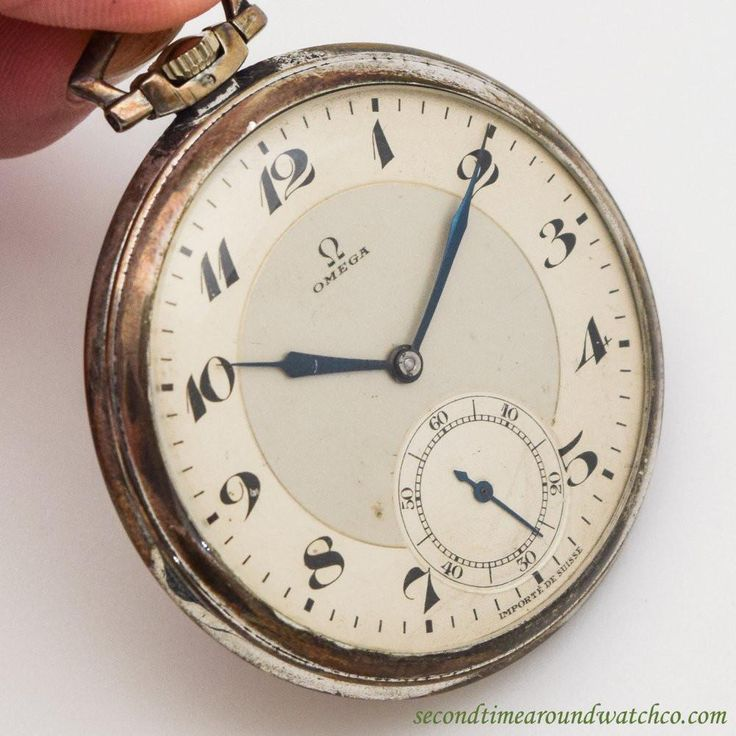1933 Vintage Omega Silver Art Deco Case Pocket Watch with Original Two Tone Light Gray and Silver Dial with Black Breguet Arabic Numbers. Triple Signed.   Case
