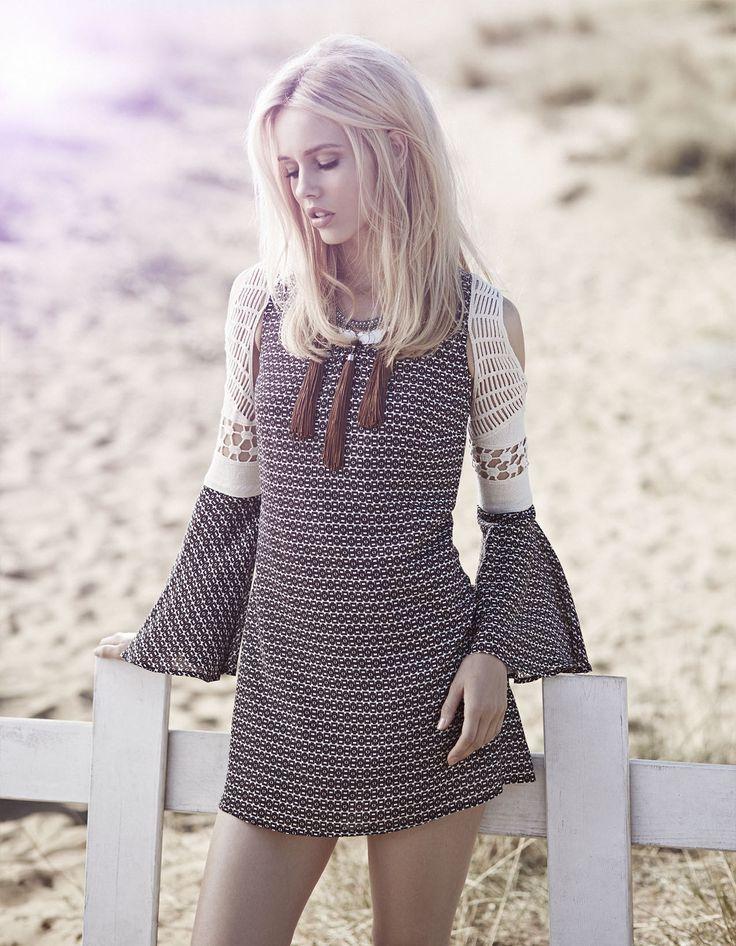 bohemian style, short dress with lace details open shoulders