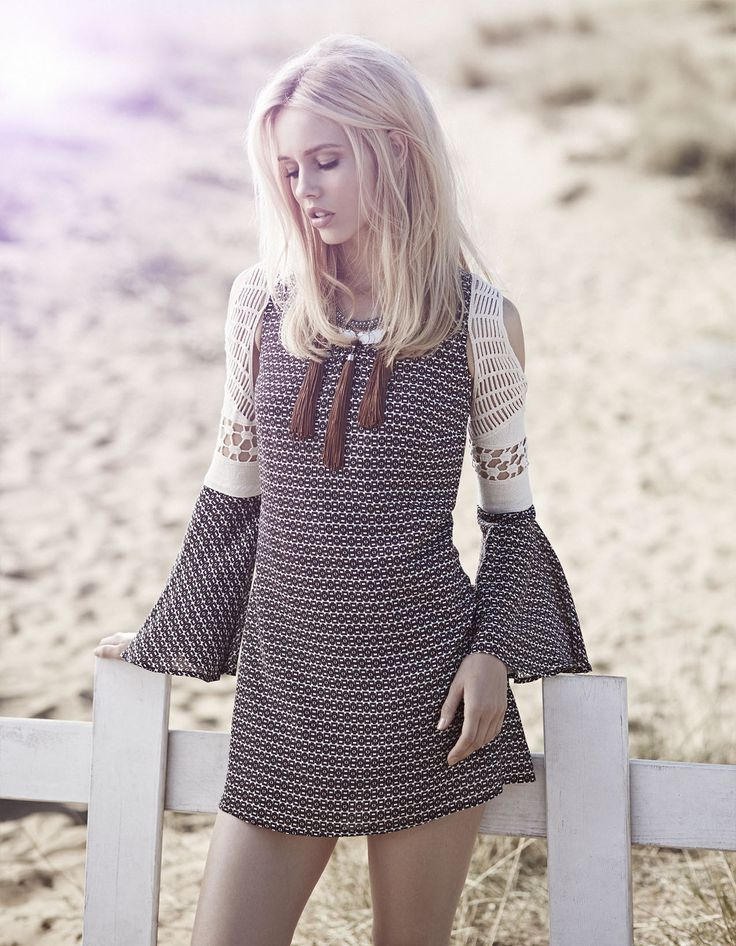 bohemian style, short dress with lace details open shoulders