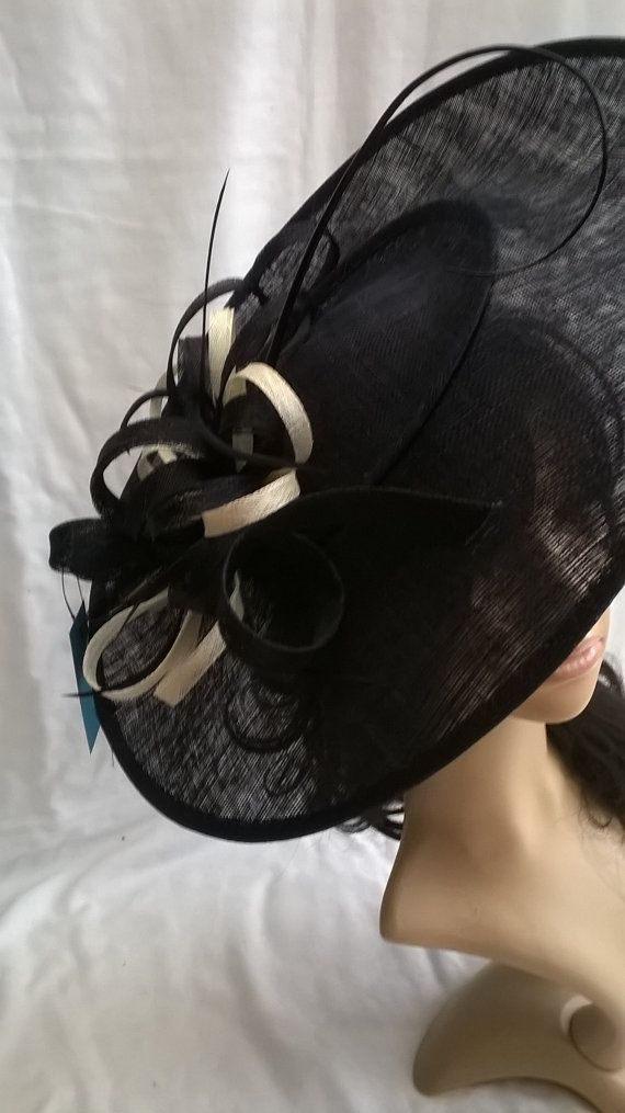 Ascot hatinator Navy & ivory large Sinamay disc Fascinator with swirls , loops..wedding,races