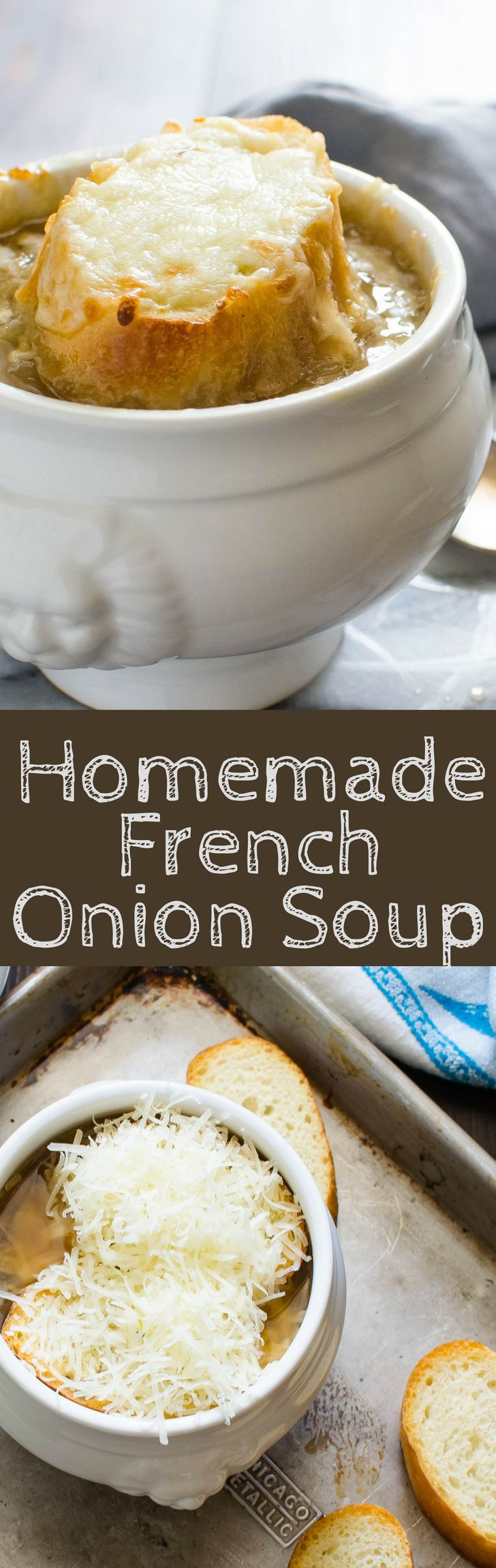 The BEST French Onion Soup with tender onions, sherry spiked beef broth and cheesy croutons!  Easier to make than you think!