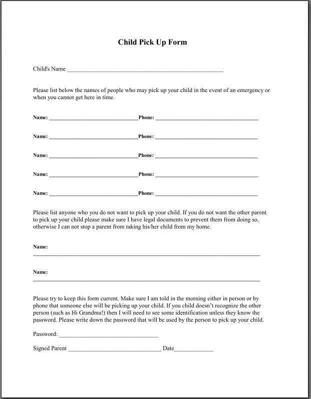 Li'l Angels Home Daycare-Child Pickup Form                                                                                                                                                      More