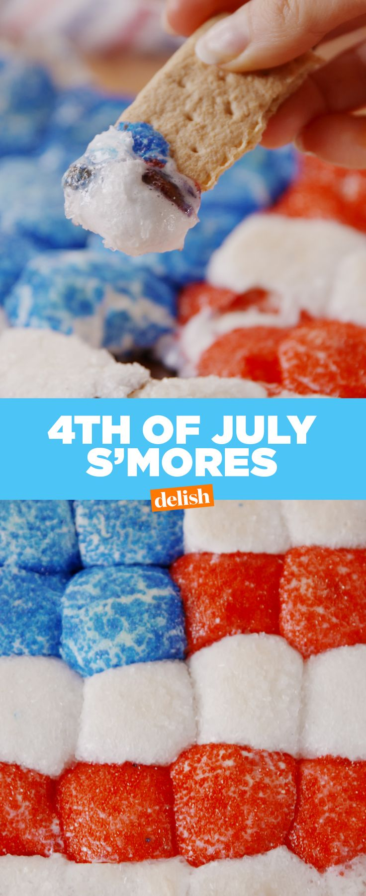 4th Of July S'mores are almost too perfect to eat... ALMOST. Get the recipe at Delish.com.