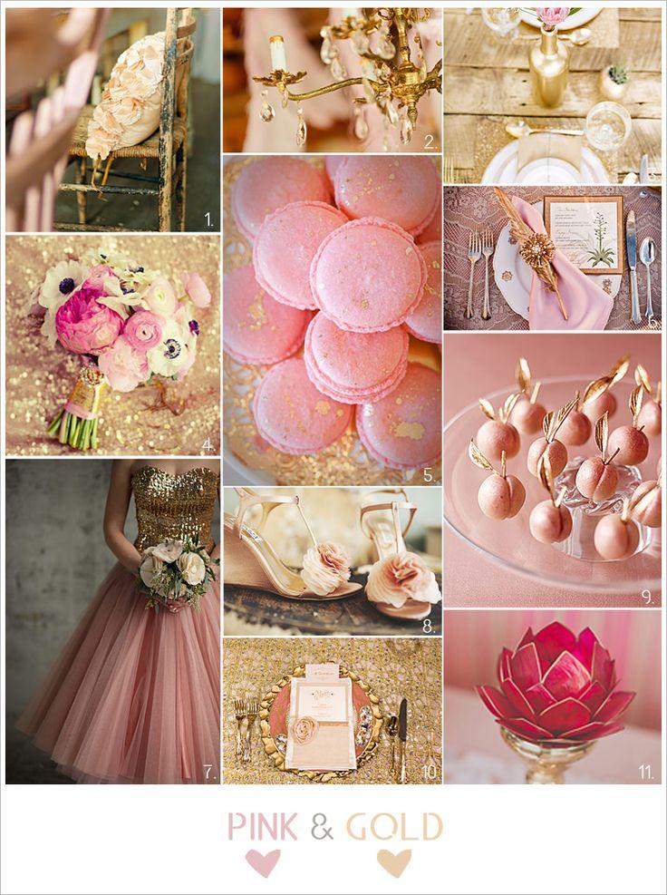 Inspiración para bodas en rosa y dorado: una combinación elegante y primaveral que transmite dulzura y romanticismo.