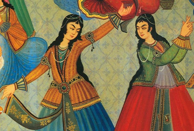 Persian+Women+dancing+From+a+wall+painting+at+Hasht+Behesht+Palace+(Palace+of+8+heavens).