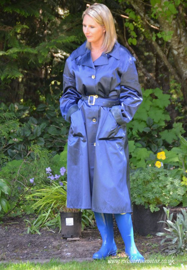 The lovely Caroline in her really beautiful blue mack and matching welly's.
