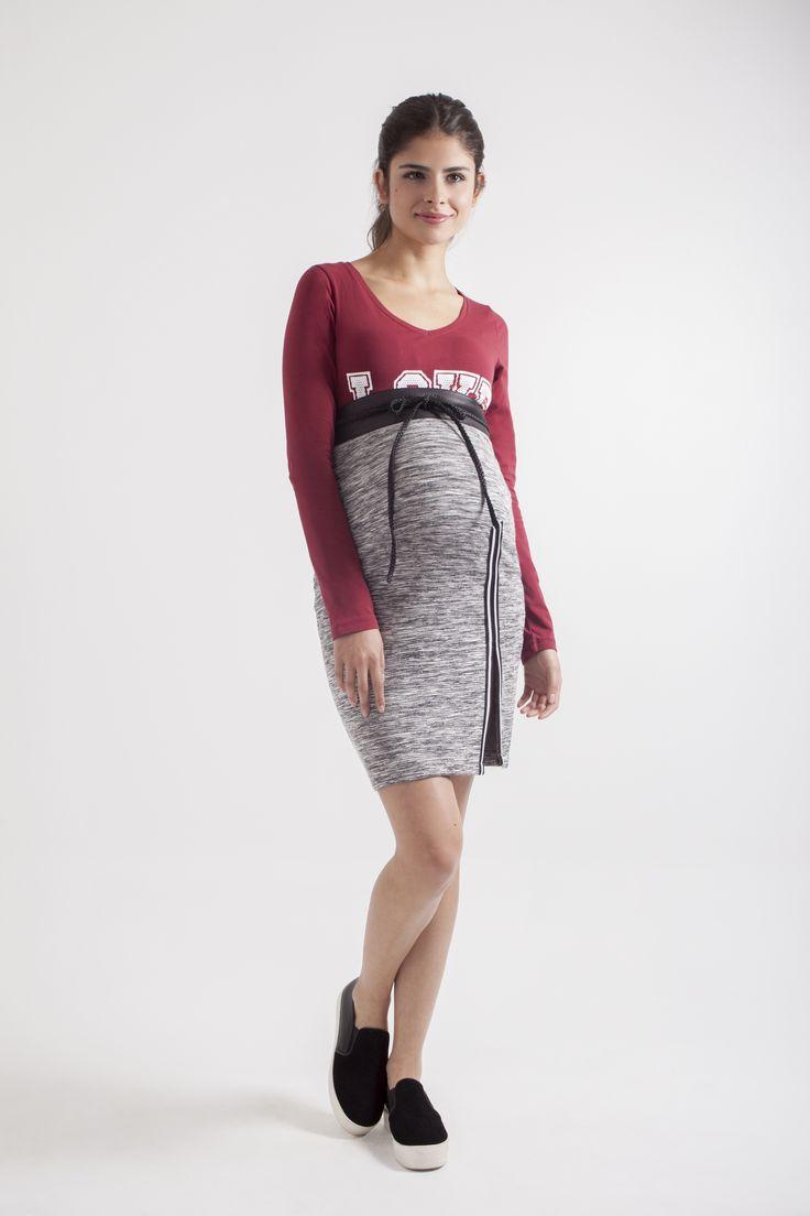 Falda de Maternidad The Skirt L2W, Blusa Love Battle de L2W & Cinturón en piel negro de L2W.1ra colección Ohmamá.